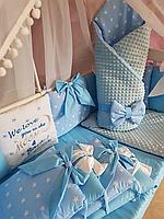 Набор постельного белья в детскую кроватку /Бортики / Защита в кроватку: одеяло-конверт на выписку, балдахин.