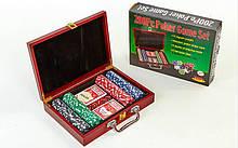 Набор для покера в деревянном чемодане  на 200 фишек с номиналом (р-р 30,5х21х7,5см)