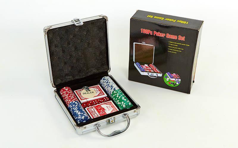 Набор для покера в алюминиевом кейсе  на 100 фишек с номиналом