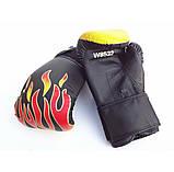 """Перчатки боксерские детские """"Пламя"""" черный (6 унций), фото 2"""
