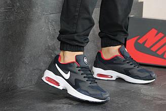 Мужские кроссовки 8158 найк Air Max 2  в стиле темно сині з білим\червоні