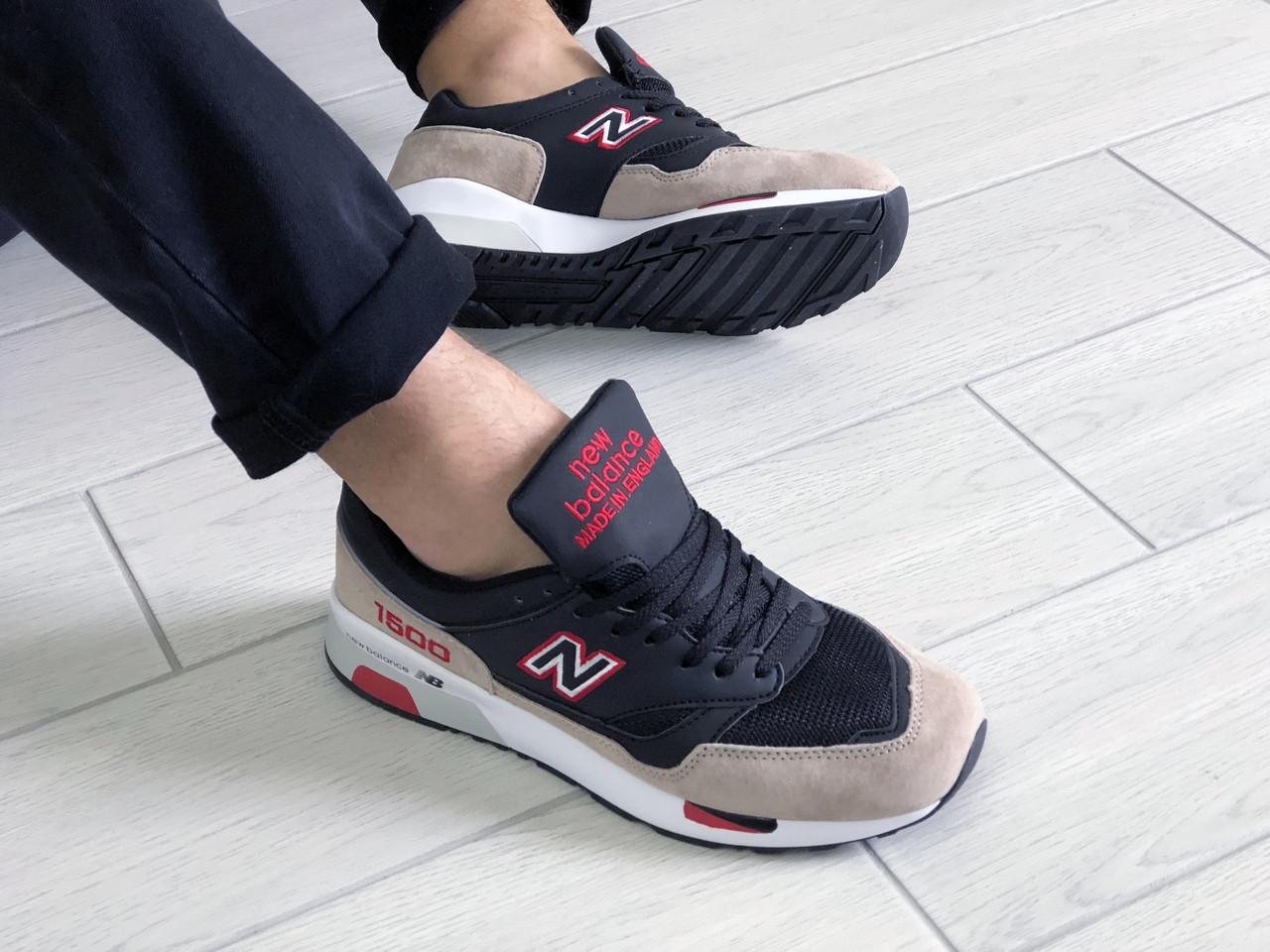 Кроссовки мужские в стиле 9113 New Balance 1500 чорні з бежевим\червоні