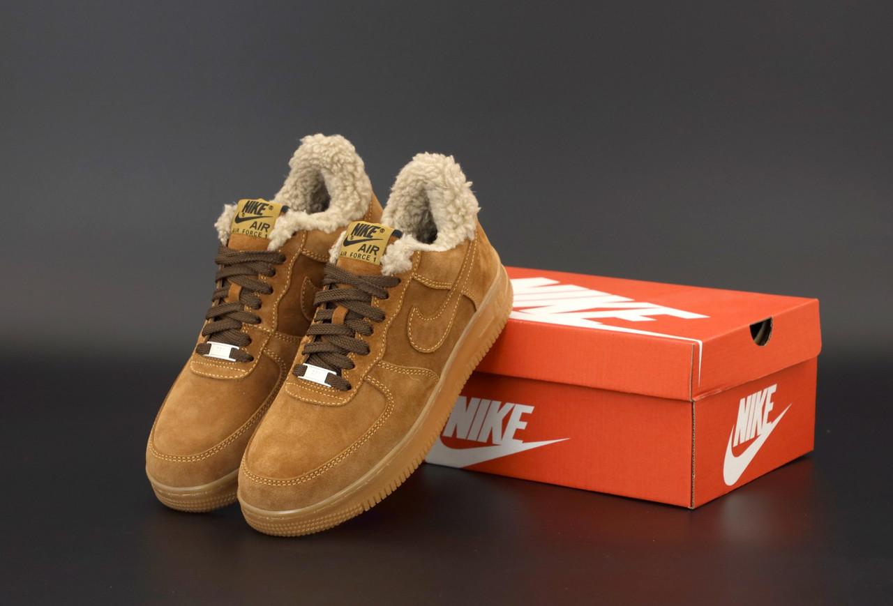 Зимние мужские кроссовки Nike Air Force с мехом. ТОП Реплика ААА класса.