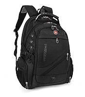 Швейцарский городской спортивный мужской рюкзак WENGER SwissGear для спортзала офиса путешествий 8810 Черный