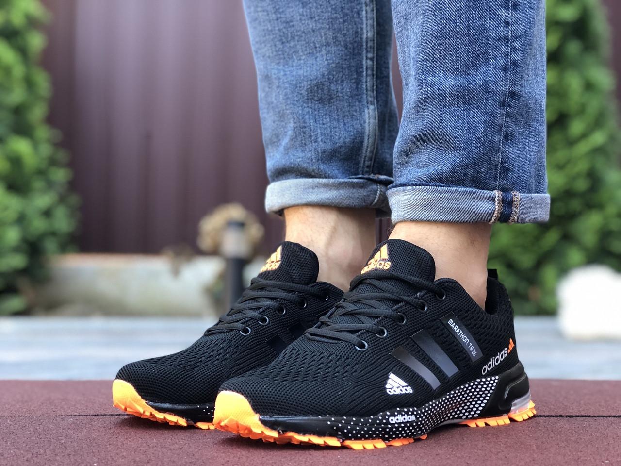 Кросівки чоловічі в стилі 9653 Adidas Marathon TR 26 чорні з помаранчевим