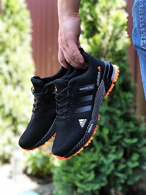 Кросівки чоловічі в стилі 9653 Adidas Marathon TR 26 чорні з помаранчевим, фото 2