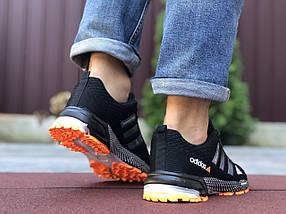 Кросівки чоловічі в стилі 9653 Adidas Marathon TR 26 чорні з помаранчевим, фото 3