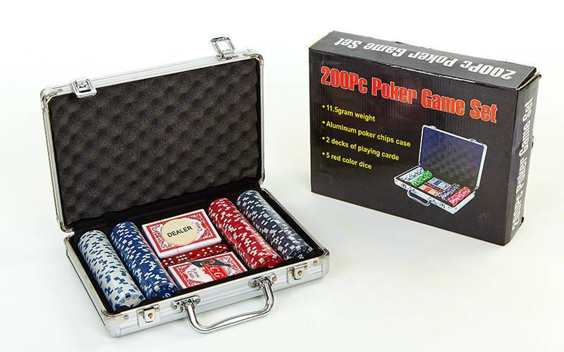 Набор для покера в алюминиевом кейсе на 300 фишек с номиналом