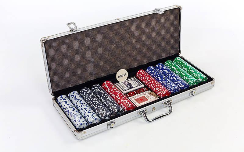 Набор для покера в алюминиевом  кейсе на 500 фишек с номиналом