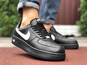 Кроссовки мужские в стиле 9925 Nike Air Force чорні з білим  ( зима )