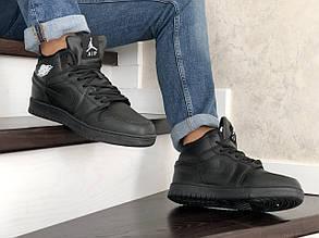 Кроссовки мужские в стиле 10062 Nike Air Jordan 1 Retro чорні  ( зима )