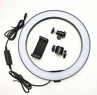 Кольцевая светодиодная LED лампа 2 (1 крепл.тел.) USB (26см), студийное освещение, подсветка для селфи
