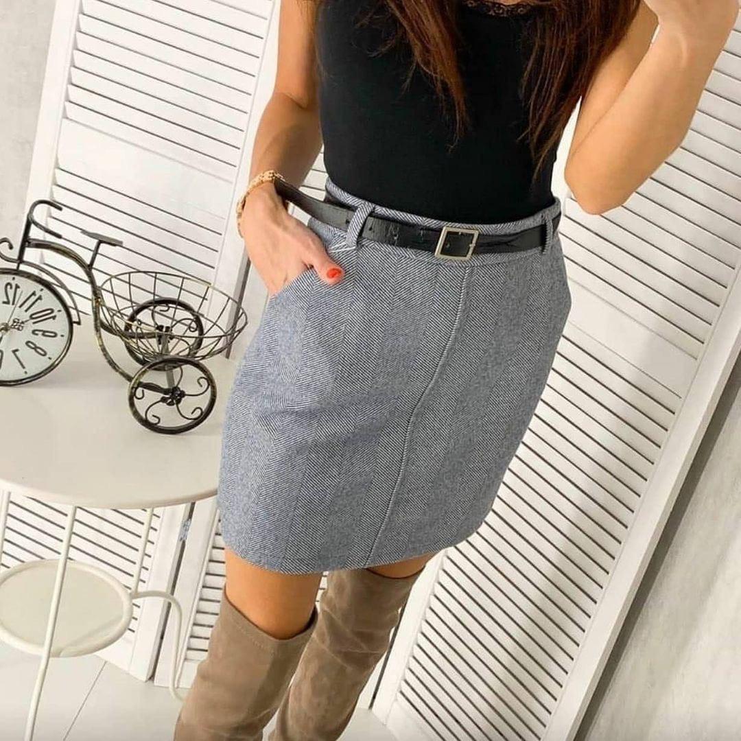 Юбка женская твидовая с поясом в комплекте , серый