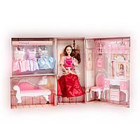 Набор кукла Барби с мебелью и платьями для девочки