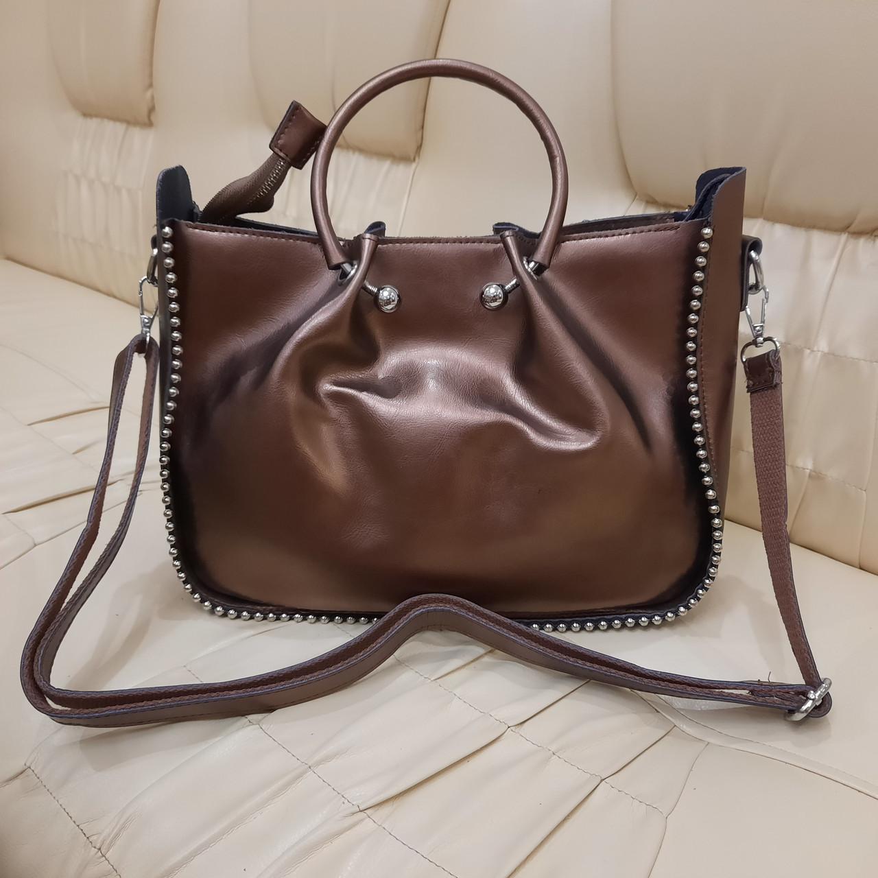 Кожаная бронзовая женская сумка