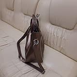 Кожаная бронзовая женская сумка, фото 6