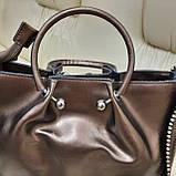 Кожаная бронзовая женская сумка, фото 9