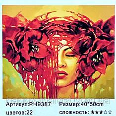 "Картина-раскраска по номерам на холсте 40*50 ""Девушка"" (н-р акр.красок+3 кисти) РН9387"