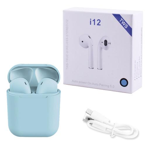 Беспроводные bluetooth-наушники i12 5.0 с кейсом, blue