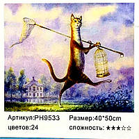 """Картина-раскраска по номерам на холсте 40*50 """"Котик """" (н-р акр.красок+3 кисти) РН9533"""