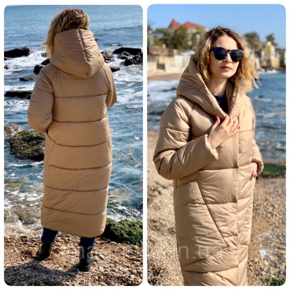 Зимовий пуховик куртка курточка з капішоном пальто оверсайз ковдра одеяло (плащівка + силікон)