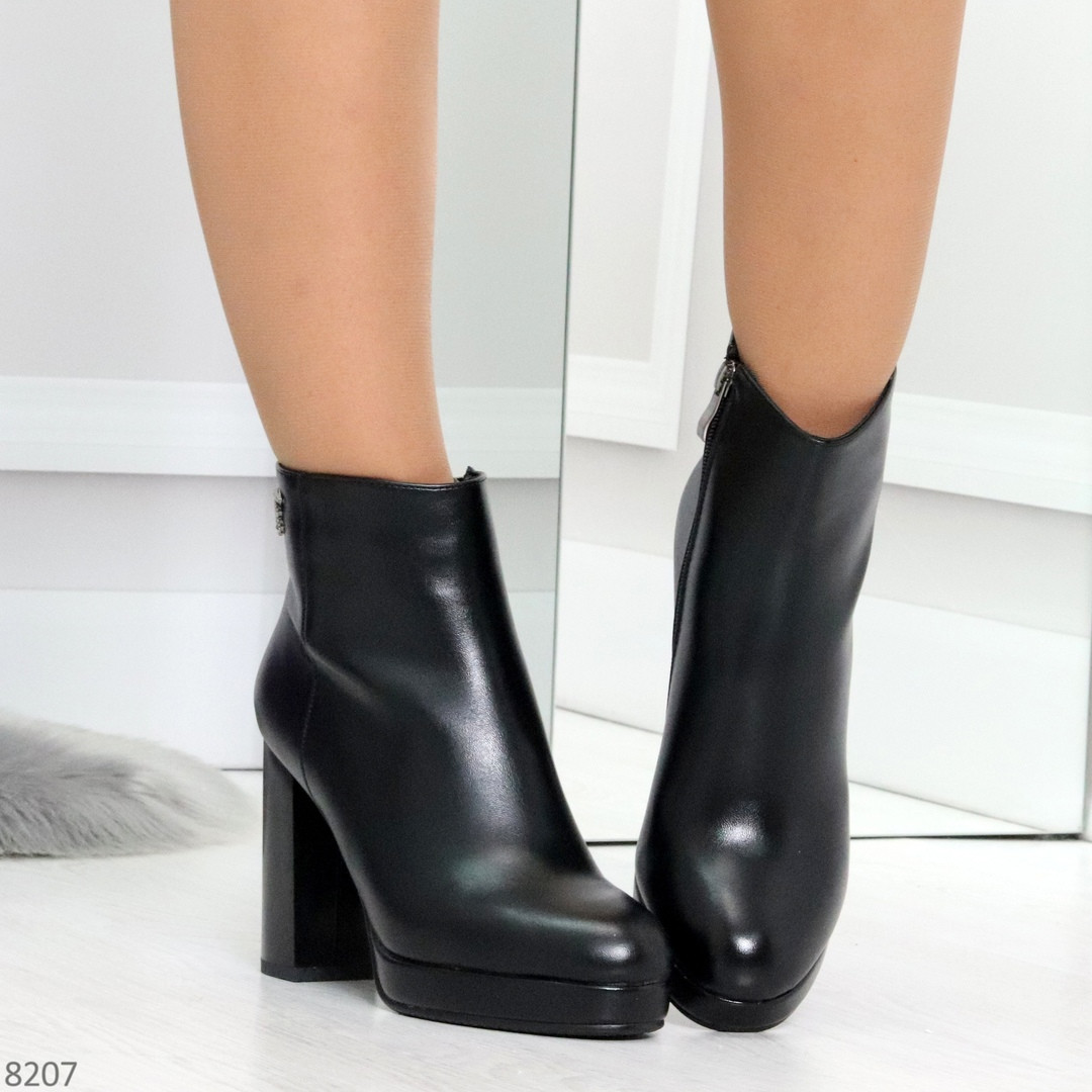 Роскошные черные женские ботинки ботильоны на устойчивом каблуке