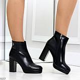Роскошные черные женские ботинки ботильоны на устойчивом каблуке, фото 2