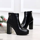 Роскошные черные женские ботинки ботильоны на устойчивом каблуке, фото 7