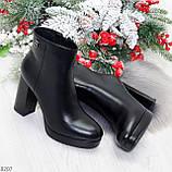 Роскошные черные женские ботинки ботильоны на устойчивом каблуке, фото 10