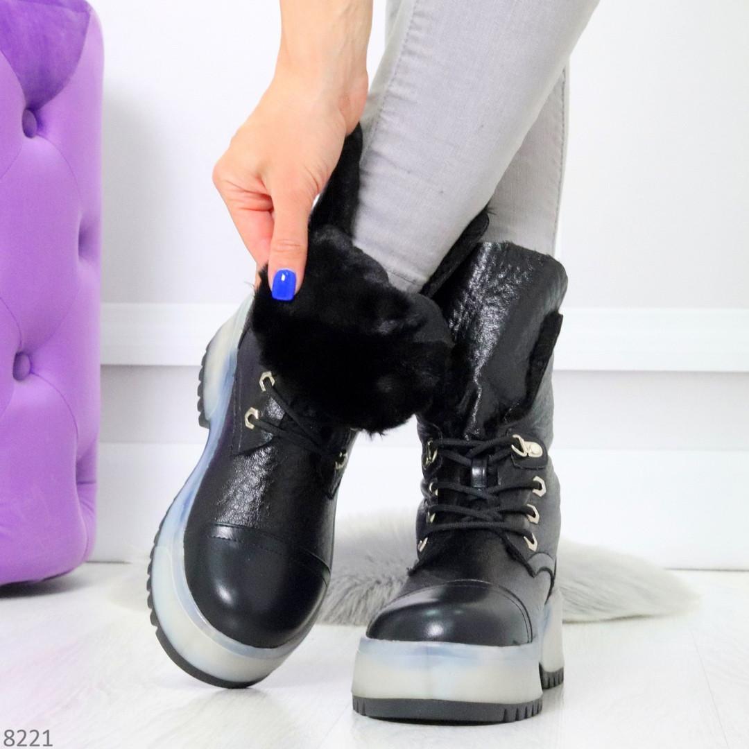 Высокие черные женские зимние ботинки на утолщенной подошве 36-23 37-24 39-25 см