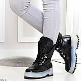 Высокие черные женские зимние ботинки на утолщенной подошве 36-23 37-24 39-25 см, фото 2