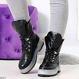 Высокие черные женские зимние ботинки на утолщенной подошве 36-23 37-24 39-25 см, фото 4