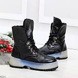 Высокие черные женские зимние ботинки на утолщенной подошве 36-23 37-24 39-25 см, фото 5