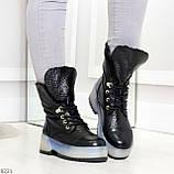 Высокие черные женские зимние ботинки на утолщенной подошве 36-23 37-24 39-25 см, фото 7