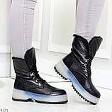Высокие черные женские зимние ботинки на утолщенной подошве 36-23 37-24 39-25 см, фото 8