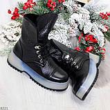 Высокие черные женские зимние ботинки на утолщенной подошве 36-23 37-24 39-25 см, фото 9