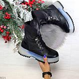 Высокие черные женские зимние ботинки на утолщенной подошве 36-23 37-24 39-25 см, фото 10