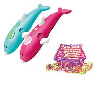 Аккумуляторная 3D ручка 9903 дельфин с трафаретами для детского творчества 8 цветов пластика 3Д Pen Голубой