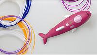 Аккумуляторная 3D ручка 9903 дельфин с трафаретами для детского творчества 8 цветов пластика 3Д Pen Розовый