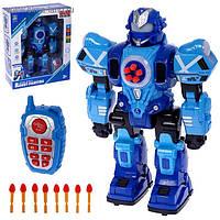 Робот на радио управлении Robot Fighting, игрушка для мальчика на пульте стреляет стрелами Синий