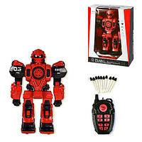Робот на радио управлении Planet Warrior, игрушка для мальчика на пульте стреляет ракетами Красный