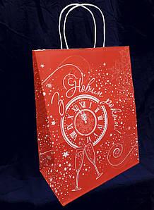 """Пакет подарочный """"Новый год"""" 260х140х335 мм. крафт белый/красный с кручеными ручками, 100 г/м2, 50 шт/уп"""