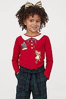 Червоний дитячий регланчик на різдвяну тематику НМ для дівчинки