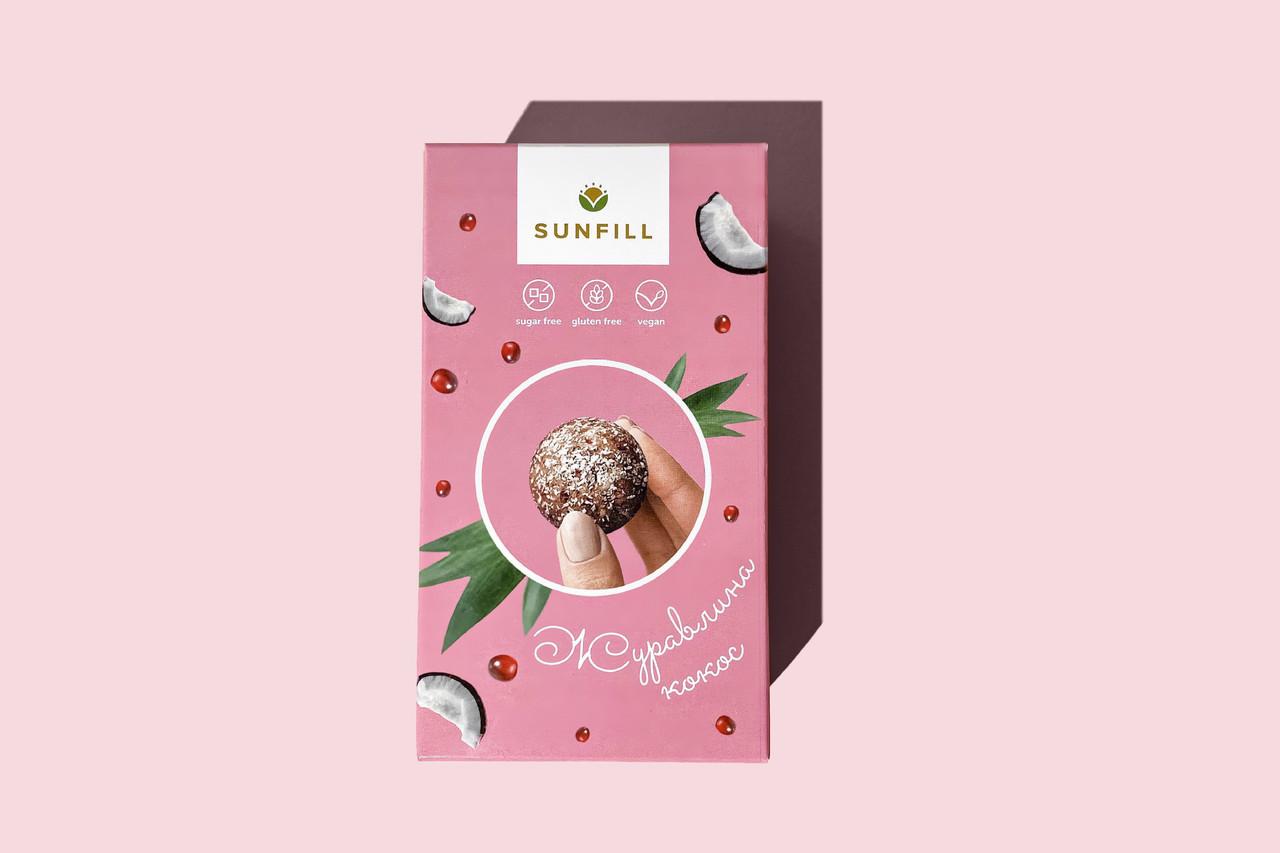 Натуральні цукерки з журавлиною та кокосом, Sunfill 150 г