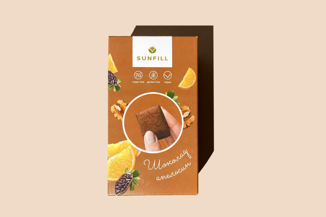 Натуральні шоколадно-апельсинові цукерки, Sunfill 150 г