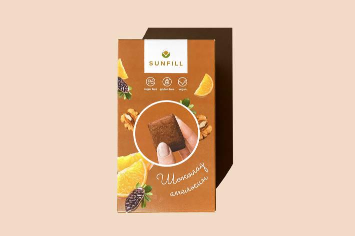 Натуральні шоколадно-апельсинові цукерки, Sunfill 150 г, фото 2