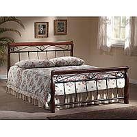 Полуторная кровать Signal Venecja 140x200см металлический каркас с ковкой и деревянными ножками черешня