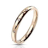Женское позолоченное кольцо из стали с фианитами от Spikes, р. 15.7, 16.5, 17.3, 18