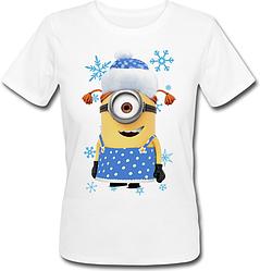Женская футболка Новогодний Миньон (белая)
