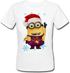 Женская футболка Новогодний Миньон 2 (белая)